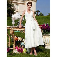 A-line Halter Tea-length Taffeta Wedding Dress  – USD $ 89.69 #00172471