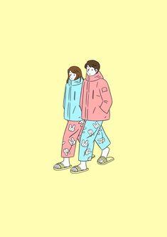 Cute Couple Art, Anime Love Couple, Mood Wallpaper, Iphone Background Wallpaper, Cute Disney Wallpaper, Cute Cartoon Wallpapers, Couple Illustration, Character Illustration, Book Cover Background