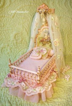 Hand-painted Sleeping Fairy and Castle Pink Youth Bed - Dollhouse Miniature. $900.00