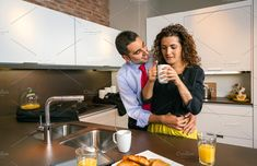 Happy businessman embracing to woman at breakfast by davidpereiras on @creativemarket