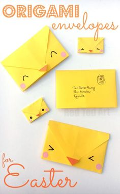 Origami Envelope Chick - Paper Crafts for Kids! This is such a cute and easy origami project for kids. And practical too. Write your letter, fold your envelope, decorate and send. Perfect for writing too (or from) the Easter bunny. A cute and easy origami Paper Crafts For Kids, Easy Crafts For Kids, Fun Crafts, Origami Simple, Easy Origami For Kids, Origami Envelope Easy, Easter Art, Easter Crafts, Easter Bunny