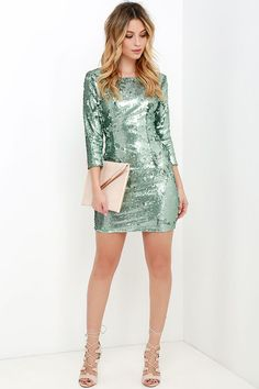 Swimming in Shimmer Aqua Blue Sequin Dress at Lulus.com!