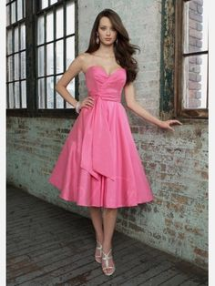Didobridal.com: Sleeveless Princess Sweetheart tea-length Taffeta Bridesmaid Dress with Self-sash -  For more amazing deals visit us at http://www.brides-book.com and remember to join the VIB Club  for amazing offers from all our local vendors.