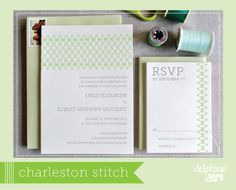 Charleston Stitch letterpress wedding invitation in Keylime and Champagne inks // by Delphine