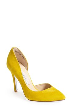 These yellow suede pumps give off vibrant summer vibes.