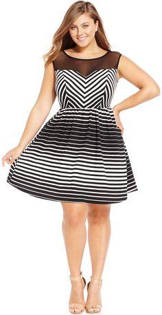 Plus Size Striped Illusion A-Line Dress
