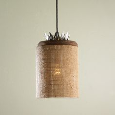 Burlap and Glass Pendant Light This eclectic pendant light takes burlap to a whole new level & Natural Shell Necklace Chandelier - 3 Lt | P?írodní Zví?ata a ... azcodes.com