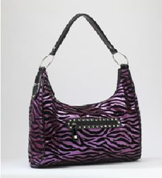 Rock Rebel Purple and Black Zebra Hobo Purse Trendy Purses, Unique Purses, Cute Purses, Coach Handbags, Purses And Handbags, Rebel, Expensive Purses, Coach Leather Bag, Purple Zebra