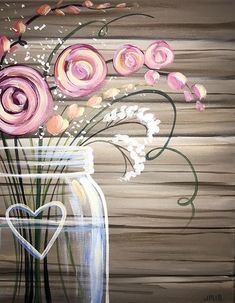 Mason Jar with heart blossoms & pink flowers acrylic painting on canvas. #canvaspaintingart