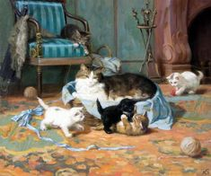 Kitten paintings. At the Fireplace - Sergej Novosadzhuk