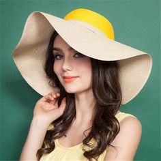 Vintage large bow straw hat wide brim beach hat for women UV and sun protection