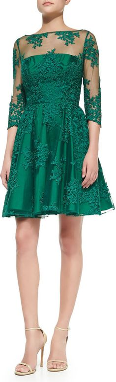 Monique Lhuillier 3/4-Sleeve Lace Illusion Cocktail Dress on shopstyle.com