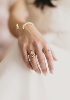 Olive Leaf rings by Mejuri x Green Wedding Shoes. Romantic jewelry. Made in 18k gold vermeil and cubic zirconia stones.