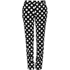 Boutique Moschino Casual Trouser (£195) ❤ liked on Polyvore featuring pants, bottoms, trousers, hosen, housut, black, black pants, dot pants, black zipper pants and polka dot pants
