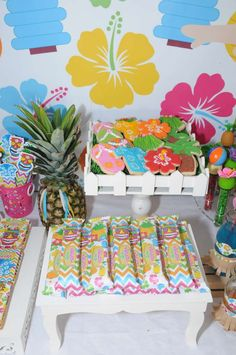 Summer treats at a luau birthday party!  See more party planning ideas at CatchMyParty.com!