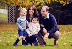 This is the photograph of William, Kate, George and Charlotte which was used on Christmas ...