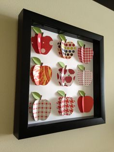 Red Apple paper Art Kitchen Decor shadow box frame Red Apple Art teacher gift by PaperLine Fall Crafts, Diy And Crafts, Crafts For Kids, Apple Art, Red Apple, 3d Paper Art, Apple Decorations, Creation Deco, Paper Anniversary