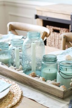 Use that collection or canning jars as a candle holder