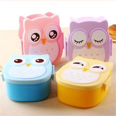 1 pc double squares owl Sealing Lunch Bento Box carton lancheira 4 style 1050 ML - Kitchen, Dining & Bar, Fruit Storage, Baby Food Storage, Food Storage Containers, Lunch Containers, Plastic Storage, Plastic Lunch Boxes, Portable Food, Portable Microwave, Bedroom Decor