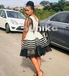 Modern Xhosa Traditional Dresses Latest Designs - Sunika Traditional African Clothes South African Traditional Dresses, Traditional Dresses Designs, Traditional Outfits, Zulu Traditional Attire, Traditional Weddings, Seshweshwe Dresses, Nice Dresses, Xhosa Attire, African Attire