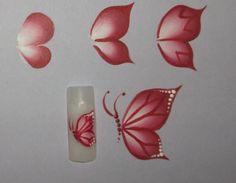 Pictura One Stroke: Doua tipuri de fluturi pentru unghii