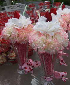 ice cream soda floral centerpiece - Kimberly Njaim - Beyond Binary Party Centerpieces, Floral Centerpieces, Floral Arrangements, 50s Theme Parties, Birthday Parties, 80th Birthday, Sock Hop Party, Diner Party, Ice Cream Floats