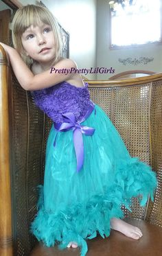 Girls Mermaid Dress- Girls Feather Dress
