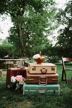 vintage-inspired decor, photo by Q Avenue Photo http://ruffledblog.com/adventurous-historic-cedarwood-wedding #weddingideas #rentals