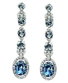 Givenchy Earrings, Blue Glass Accent Linear Drop Earrings