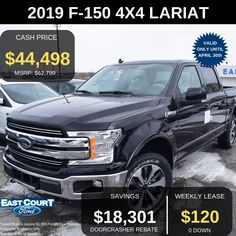 Stock # 04.13 - 9F1552  $0 DOWN, , VOICE ACTIVATED NAVIGATION, TRAILER TOWN PACKAGE, $120/WK LEASE, AND MORE.   The all new 2019 F150 Supercrew LARIAT which has:  >TWIN PANEL MOONROOF  >VOICE ACTIVATED NAVIGATION  >275/55R-20 ALL TERRAIN OWL  > 4x4 All Wheel Drive - 10 Speed Electronic Transmission.... Ford Employee, Car Deals, 2019 Ford, Car Ford, Ontario, 4x4, Twin, Twins, Gemini