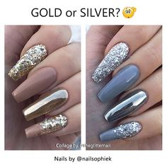 ✨ Gold or Silver? - - • - - Golden Glitter and Chrome on Nude Coffin Nails or Silver Glitter and Chrome on Grey Coffin Nails. What do you…