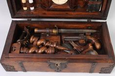 Kamelot Auctions brings us another Blomberg-style vampire hunting kit . It's a pretty standard bit of assemblage, but the plaster icon is a. Werewolf Hunter, Vampire Hunter, Halloween House, Halloween Fun, Vampire Mythology, Witch Doctor, Wood Chest, Old Tools, Super Natural