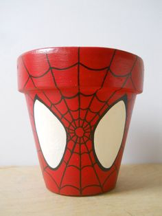 Spiderman Marvel Superhero Comic Book painted flower pot Spider Man