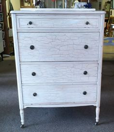 Old-time crackle paint! Circa 1930-1940 4 Drawer Tall Boy Chest of Drawers Dresser