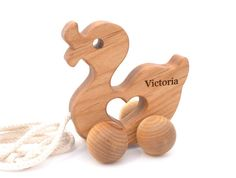 Personalized Wooden Pull Toy  Duck Natural Baby by KeepsakeToys, $30.00