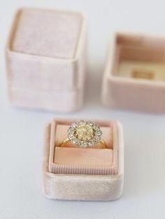 Peach blush engagement -Ring-Box The Mrs. box velvet ring box