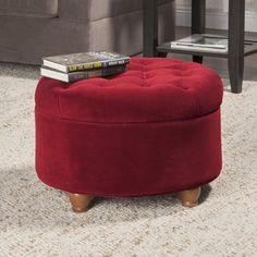 Adeco Fabric Round Storage Ottoman | Overstock.com Shopping - The Best Deals on Ottomans