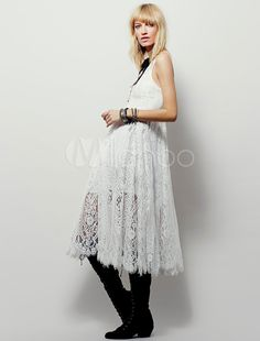 White Lace Dress Sleeveless Stand Collar Cut Out Summer Dress For Women