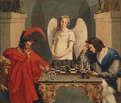 Portada Mefistofeles y fausto jugando ajedrez