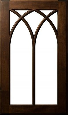 LOVE THIS KITCHEN CABINET DOOR: Multi-Arched Seven-Lite Mullion. Species: Maple; Finish: Cocoa With Umber Glaze - plainfancycabinetry.com/door-styles
