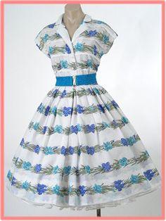 50's Floral Swiss Dot Shirtwaist Style Full Dress
