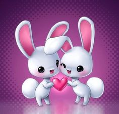 Cute cartoon bunnies - maybe for valentines day