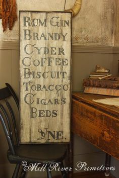 Large Hand Painted c Colonial Tavern Menu With Bottles Wooden Sign