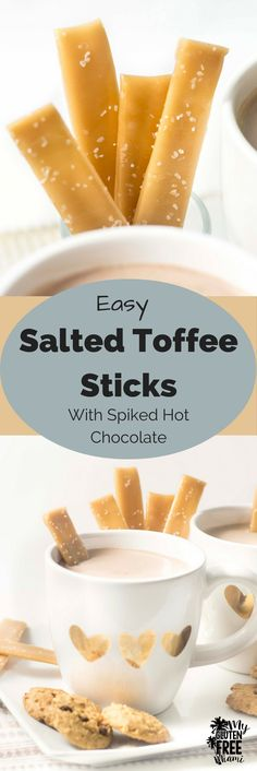 Easy Salted Toffee Sticks are the perfect way to dress up your spiked hot chocolate! Skip the alcohol for the kiddos & they will love these! via @glutenfreemiami