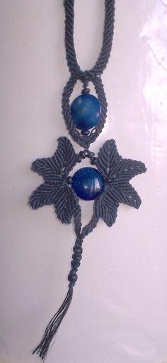 Organic linen macramé necklace wooden beads and di TerraMadreAndCo