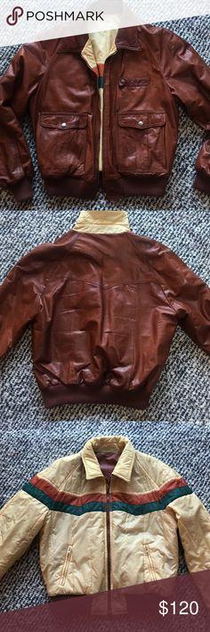 Vintage Jacket Vintage leather/nylon reversible Jacket. Cool & hip. 70's style. Unisex Reclaimed Vintage Jackets & Coats Bomber & Varsity