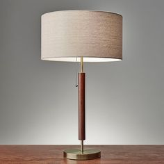 Adesso Hamilton Table Lamp In Walnut - A streamlined combo of wood and metal, the Hamilton Table Lamp from Adesso works in both mid-century retro and century modern settings. The natural linen textured shade adds a warm touch. Cool Table Lamps, Night Table Lamps, Light Table, Mid Century Modern Bedroom, Mid Century Modern Lighting, Modern Room, All Modern, Bedside Lamps Wood, Walnut Table