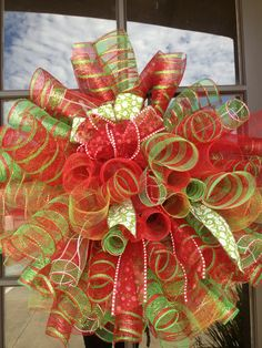 28 x 28 Christmas spiral poly mesh wreath by OOPSYDAISYDESIGNS, $60.00