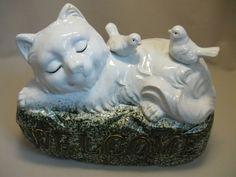 $15.99 Door Welcome Ceramic Figurine Statue Cat Kitten With Birds Gold Letter Design