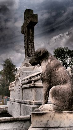 Loyal dog, Catholic Cemetery Savannah, GA photo by Dick Bjornseth